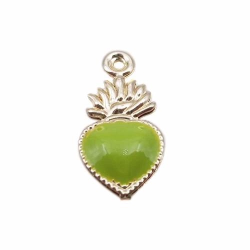 Cuori Sacri | Cuore sacro smaltato verde ottone pisello 20x10 mm pacco 1 pezzo - cuo5e1s