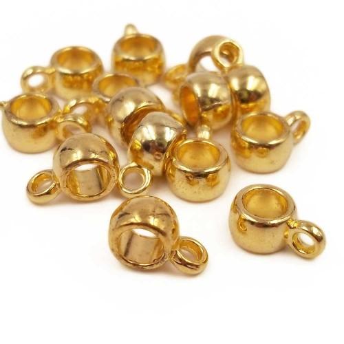 Distanziatori In Argento Tibetano | Distanziatore oro con asola 9x3.7 mm foro 3.6 mm 20 pz - age57