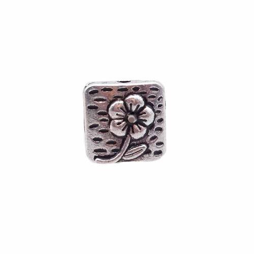 Distanziatori In Argento Tibetano | Distanziatore quadrato 10 mm con fiore pacco da 10 pezzi - dquad10