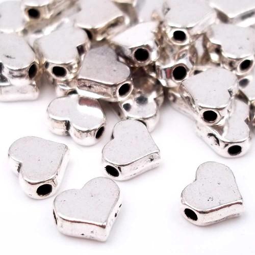 Distanziatori In Argento Tibetano | Distanziatori argentone cuore 6,6x6 mm pacco 20 pz - didi6