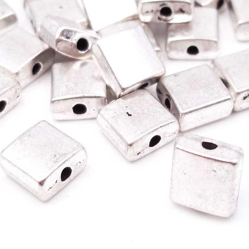 Distanziatori In Argento Tibetano | Distanziatori argentone quadrato 7,3 mm pacco 10 pz - didi7