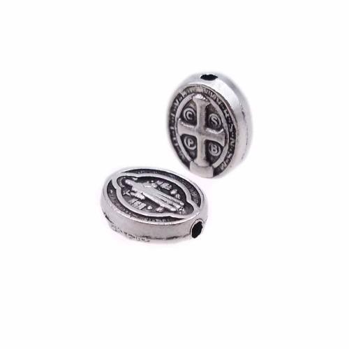 Distanziatori In Argento Tibetano | Distanziatori ovale croce e santo 10x8 mm pacco 20 pz - aax4lp
