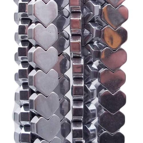 Ematite | Ematite cuore smussato 6 mm ematite argentata filo 40 cm - emc7288