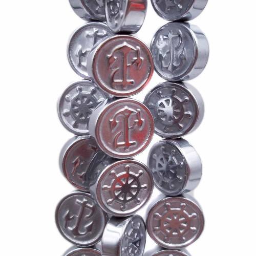 Ematite | Ematite gettone argentato timone ancora 10 mm pacco 10 pz - timan288