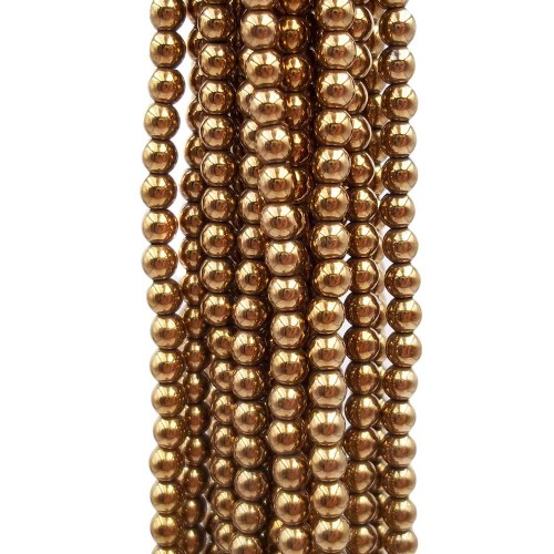 Ematite | Ematite liscia oro scuro 3.2 mm filo 40 cm - bsa3