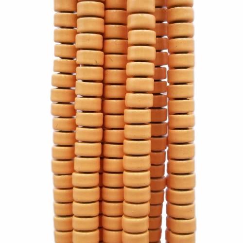 Ematite | Ematite rondelle rivestite opacizzate 4x2.4 mm giallo zafferano filo da 40 cm - emar39zz