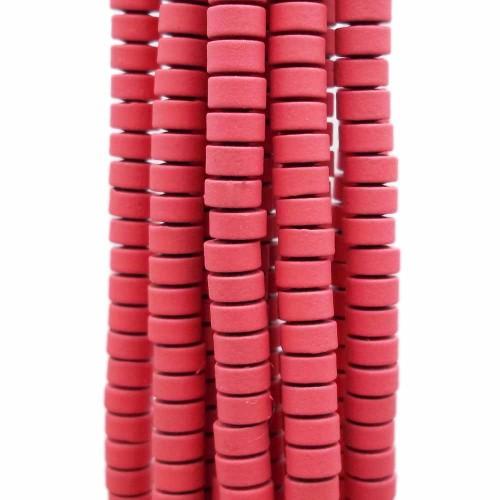Ematite | Ematite rondelle rivestite opacizzate 4x2.4 mm rosa antico filo da 40 cm - emar4f