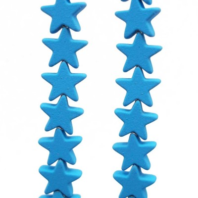Ematite stelle rivestite 7 mm azzurre  pacco da 10 pezzi