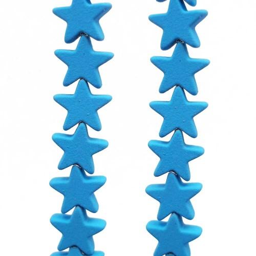 Ematite | Ematite stelle rivestite 7 mm azzurre  pacco da 10 pezzi - em7azz1