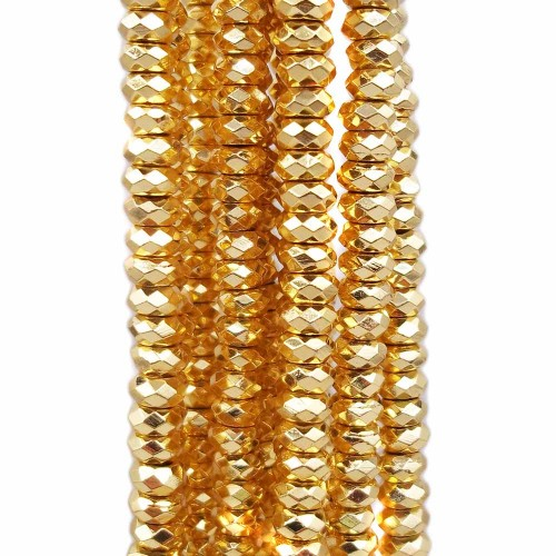 Ematite | Rondelle sfaccettate ematite oro 6x2 mm foro 2.5 mm pacco 20 pezzi - fr201011