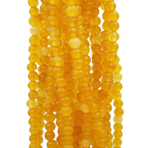 Pietre Dure Agata Colorata | Agata Colorata tonda liscia 4 mm gialla filo 40 cm - giadv22