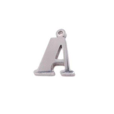 Charms lettera A in acciaio 10.5 mm pacco 1 pz