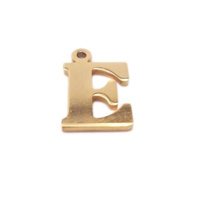 10 pezzi Charms lettera E in acciaio placcata oro 10.5 mm