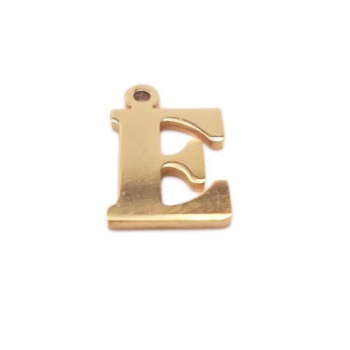 Materiale Per Bigiotteria Offerte   10 pezzi Charms lettera E in acciaio placcata oro 10.5 mm - LetteraEz