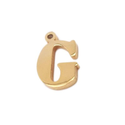 Charms lettera G in acciaio oro 10.5 mm pacco 1 pz