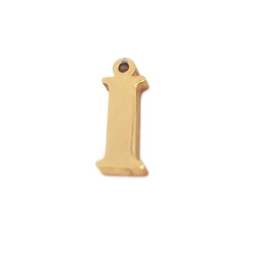Charms Lettere alfabeto | Charms lettera I in acciaio placcata oro 10.5 mm pacco 1 pz - LetteraI