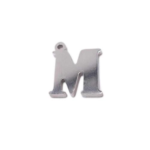 Charms Lettere alfabeto | Charms lettera M in acciaio 10.5 mm pacco 1 pz - LetteraM1