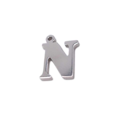 Charms Lettere alfabeto | Charms lettera N in acciaio 10.5 mm pacco 1 pz - LetteraN1