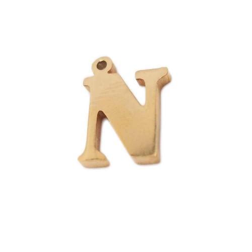 Charms Lettere alfabeto | Charms lettera N in acciaio placcata oro 10.5 mm pacco 1 pz - LetteraN