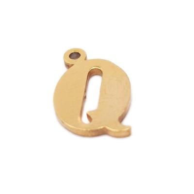 10 pezzi Charms lettera Q in acciaio placcata oro 10.5 mm