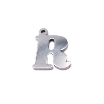 10 pezzi Charms lettera R in acciaio 10.5 mm