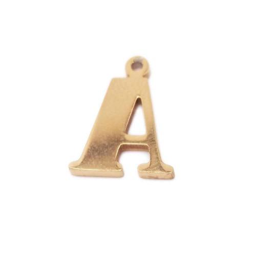 Charms Lettere alfabeto | Charms lettera A in acciaio placcata oro 10.5 mm pacco 1 pz - LetteraA