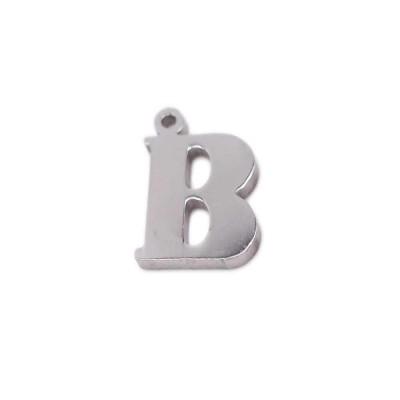10 pezzi Charms lettera B in acciaio 10.5 mm