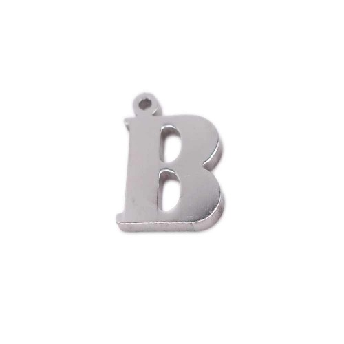 Charms Lettere alfabeto | Charms lettera B in acciaio 10.5 mm pacco 1 pz - LetteraB1