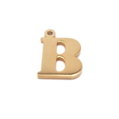 Charms lettera B in acciaio placcata oro 10.5 mm pacco 1 pz