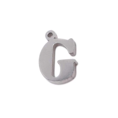 10 pezzi Charms lettera G in acciaio 10.5 mm