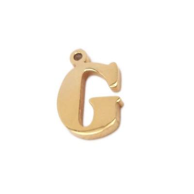 10 pezzi Charms lettera G in acciaio oro 10.5 mm