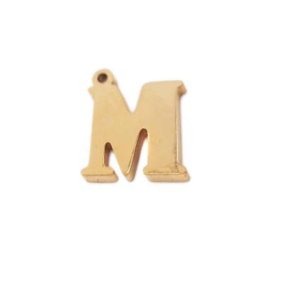 Charms lettera M in acciaio placcata oro 10.5 mm pacco 1 pz
