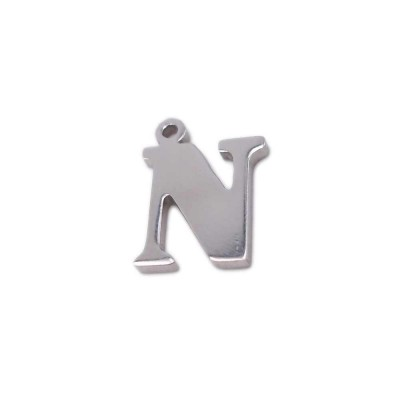 10 pezzi Charms lettera N in acciaio 10.5 mm