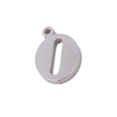 Charms lettera O in acciaio 10.5 mm pacco 1 pz