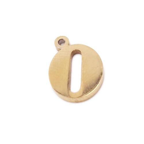 Charms Lettere | Charms lettera O in acciaio placcata oro 10.5 mm pacco 1 pz - LetteraO