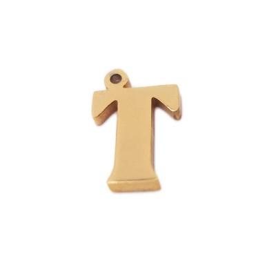 Charms lettera T in acciaio placcata oro 10.5 mm pacco 1 pz