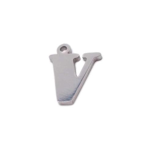 Materiale Per Bigiotteria Offerte | 10 pezzi Charms lettera V in acciaio 10.5 mm - LetteraV19