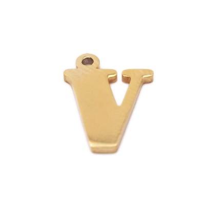 Charms lettera V in acciaio placcata oro 10.5 mm pacco 1 pz