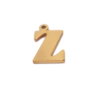 Charms lettera Z in acciaio placcata oro 10.5 mm pacco 1 pz