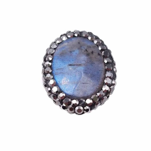 Perline Marcasite strass | Marcasite Labradorite 20x16,5 mm (CIRCA) pacco 1 pezzo - kk2