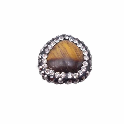 Perline Marcasite strass | Occhi di tigre marcasite irregolare 16,8X16 mm (CIRCA) pacco 1 pezzo - kk6