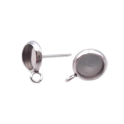 Base orecchini a perno 8 mm foro int.6 mm pacco 4 pz