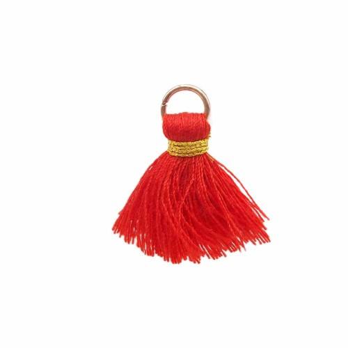 Nappine | Nappina rossa in stoffa 25 mm anellino oro pacco 1 pz - ssw4