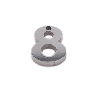 Charms in acciaio numero otto 9 mm pacco 1 pezzo