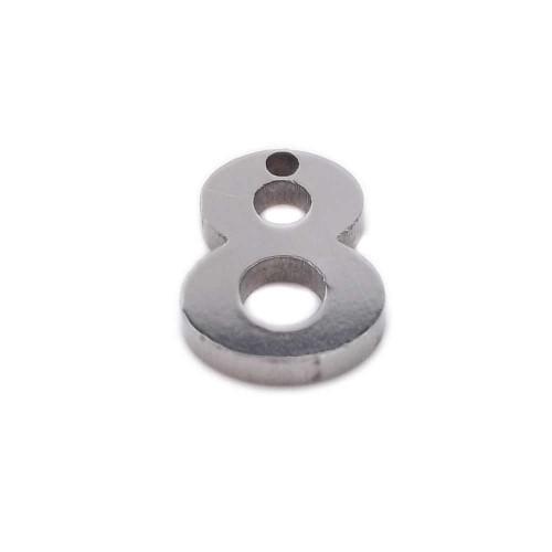 Charms numeri | Charms in acciaio numero otto 9 mm pacco 1 pezzo - num8