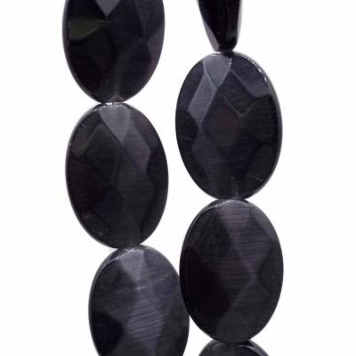 Occhi di gatto ovale nere 18x13 mm pacco da 4 pezzi