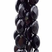 Onice nero ovale sfaccettato 18x13 mm pacco 2 pezzi