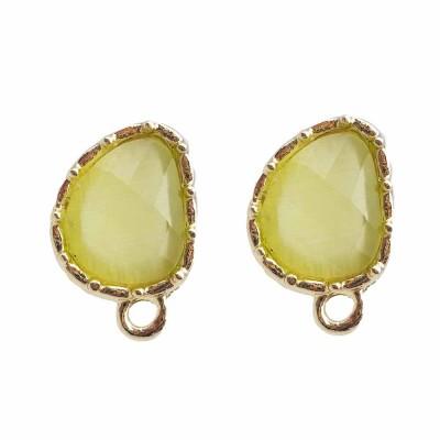 Orecchini a perno con occhi di gatto oliva 12.6 mm ottone dorato pacco 1 pz