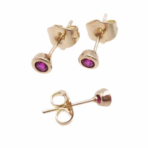 Orecchini a Perno | Orecchini a perno ottone oro con cristallo fucsia 4.4 mm 2 pz - kj6