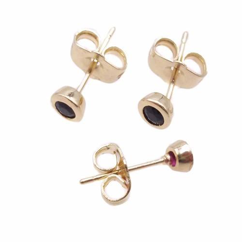 Orecchini a Perno | Orecchini a perno ottone oro con cristallo nero 4.4 mm 2 pz - kj8